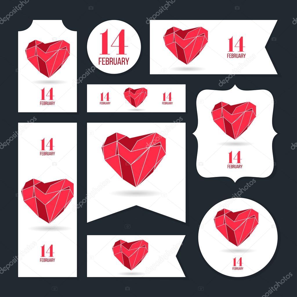 Sammlung von Valentinstag Karten, 14 Februar, Liebe Herz, Hinweise ...