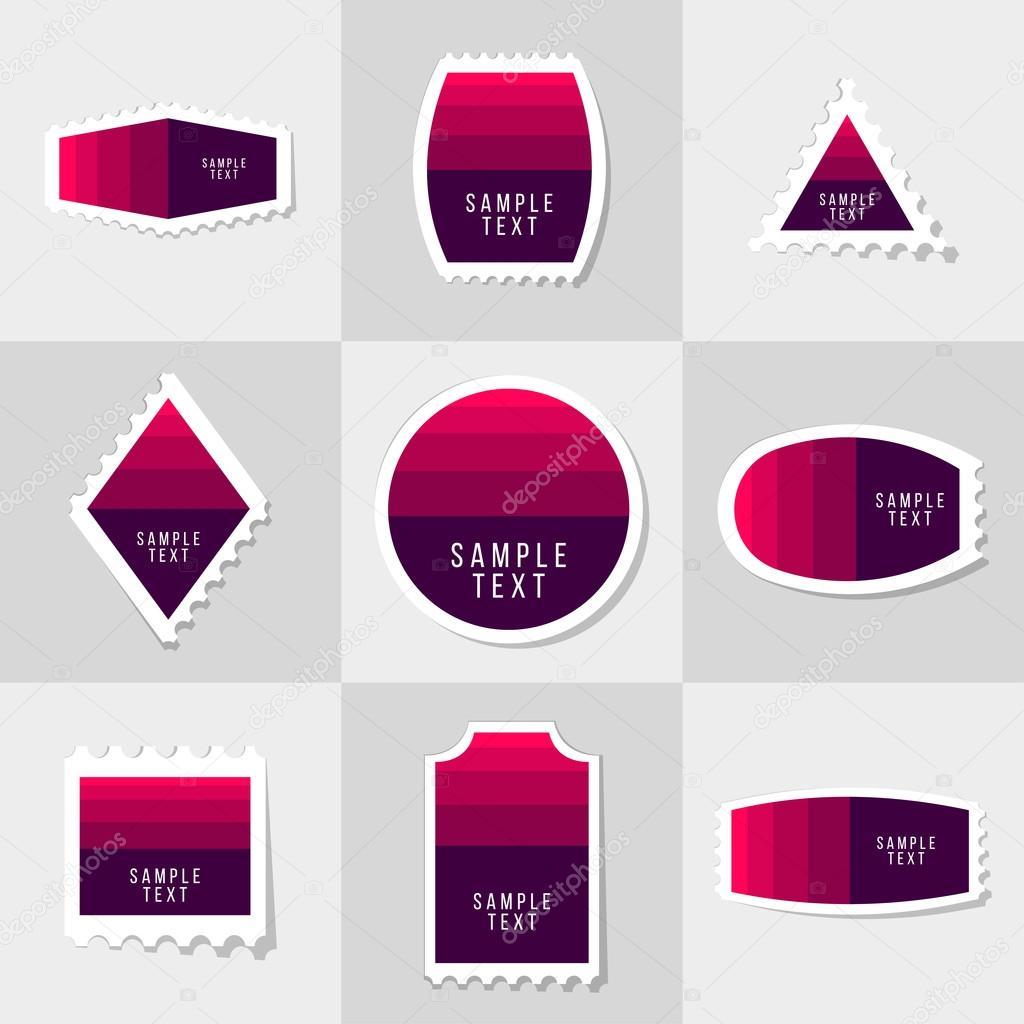 Sammlung von Beispiel-Logo und Text-Briefmarke, Karten, Notizen ...