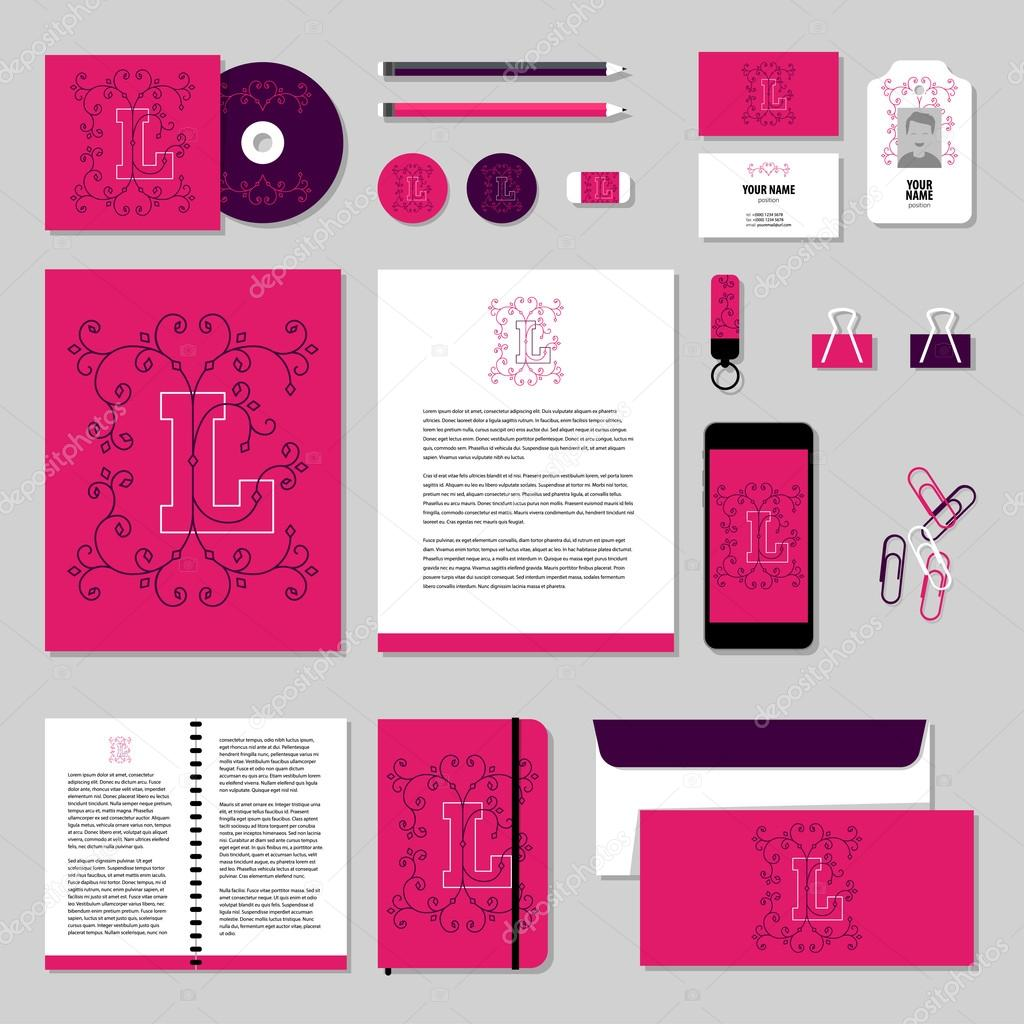 Vector stationery template design with valentines day elements, love ...