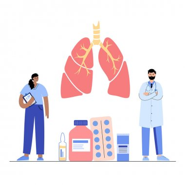 Lungs anatomy, respiratory system disease. Patients help and doctors consult in pulmonology clinic. Tuberculosis, pneumonia and asthma diagnosis. Human internal organs medical flat vector illustration icon