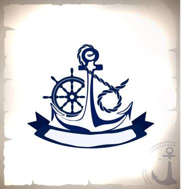Set of sea emblems. Hand drawn vector illustration. Sea motifs.