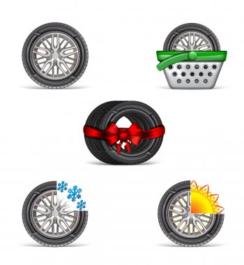 Set of tire icons for the interface of internet shop or another ad promotion of the tires
