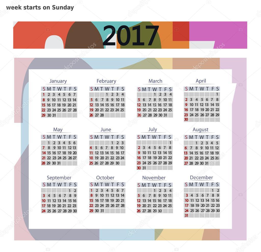2017 カレンダー テンプレートです ビジネス フォーマットです 週は
