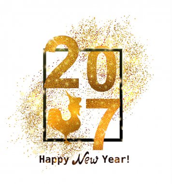 The gold glitter New Year 2017 in modern style.