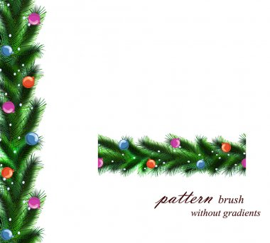 festive Christmas tree. seamless pattern brush without gradients. Vector borders.