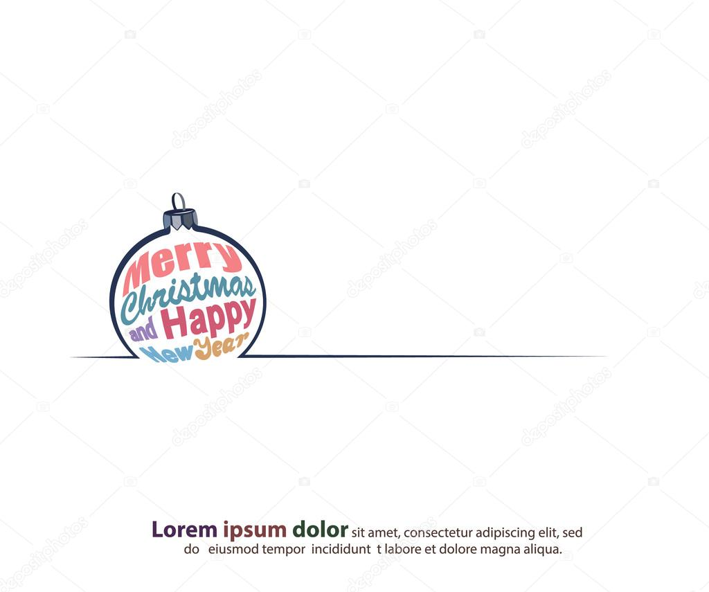 the new year and merry christmas greeting text border in a shape of the christmas tree toy used for the cards in modern style vector by anna_maximenko