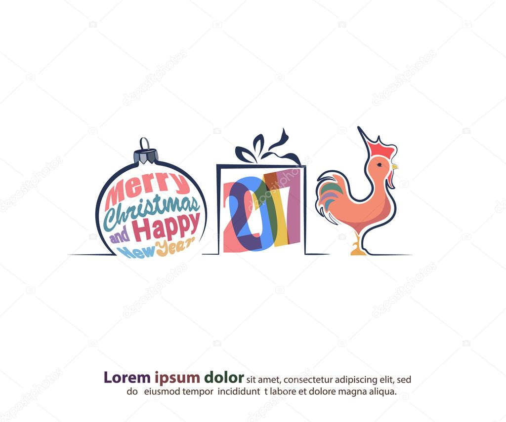 merry christmas and happy new year border in a shape of three main symbols such as a christmas tree toy gift box and red rooster