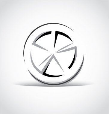 abstract car wheel, rim icon
