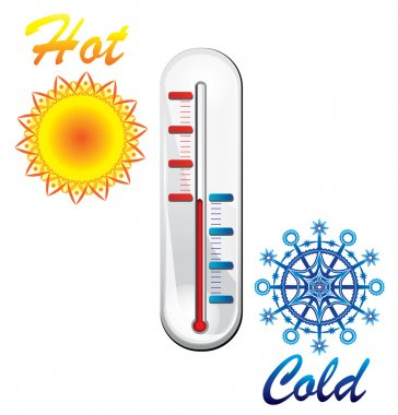 Cold and hot weather concept. sun and snowflake with thermomter, vector illustration clip art vector