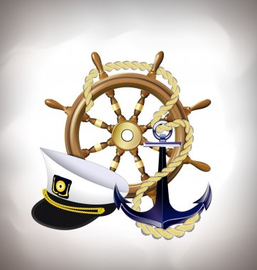 marine emblem, sea travel concept