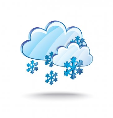 Snow and clouds icon, weather, winter symbol. vector illustration clip art vector