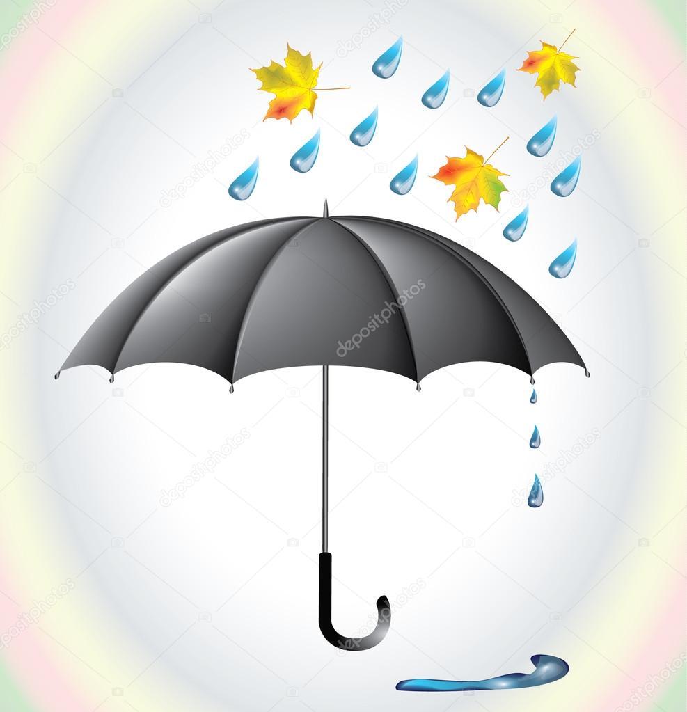 Gráfico Vectorial Paraguas Y La Lluvia Gotas Imagen Vectorial Paraguas Y La Lluvia Gotas Depositphotos
