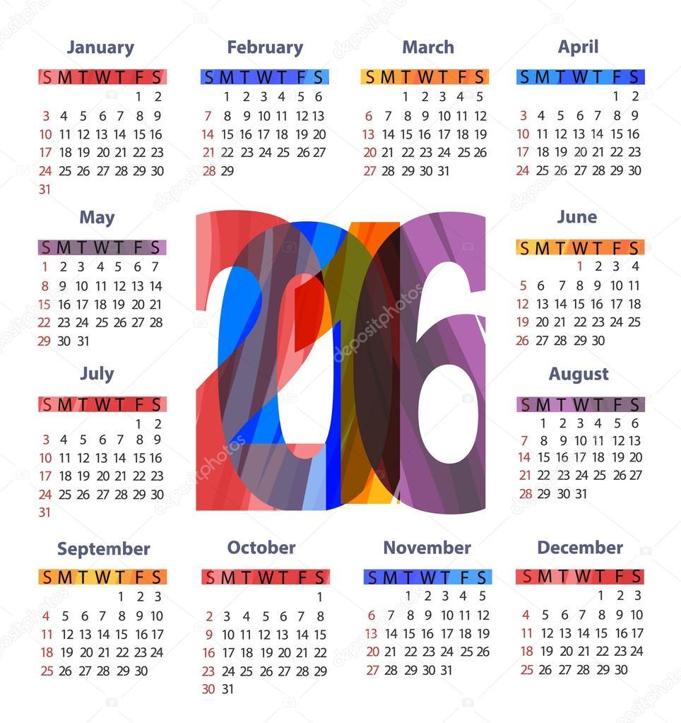 2016 Jahr Kalendervorlage — Stockvektor © Anna_Maximenko #83992296