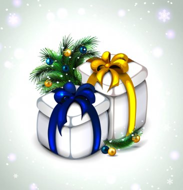 icon of holiday gift. Set of two colors. gold and blue ribbons.