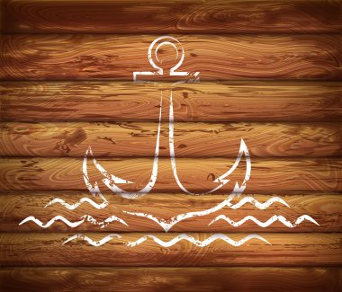 logo of the anchor. marine emblem on the wooden planks background. Vector