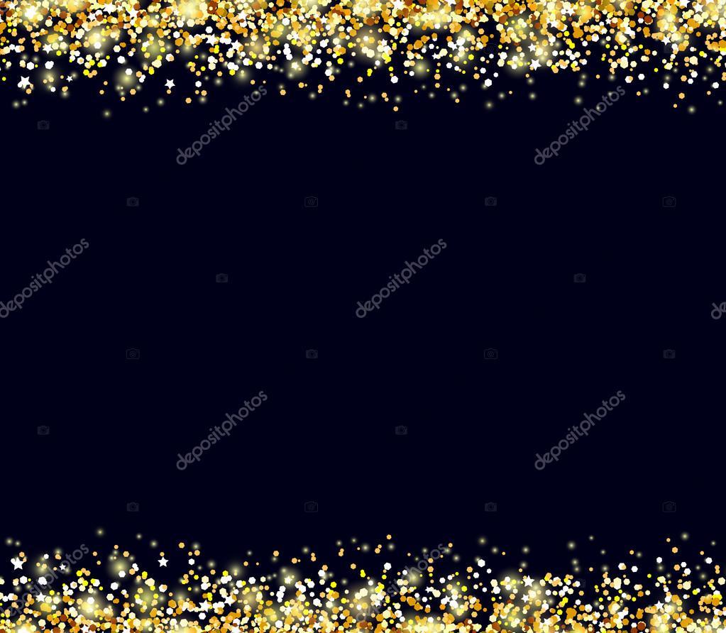 schwarz Vektor Hintergrund mit Goldrahmen — Stockvektor ...