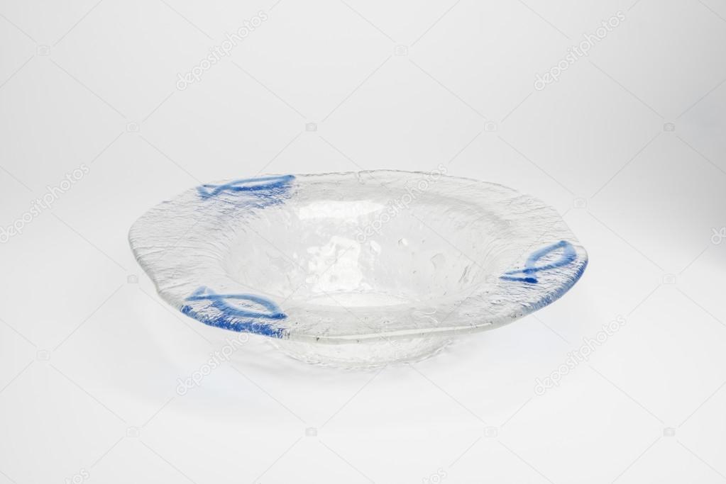 Cut Out Di Un Portacenere Di Cristallo Con Pesce Azzurro Design