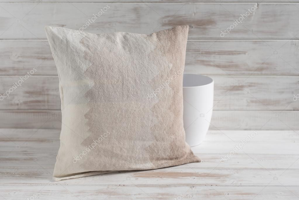 Square Gradient Brown Throw Pillow And Empty Vase Stock Photo