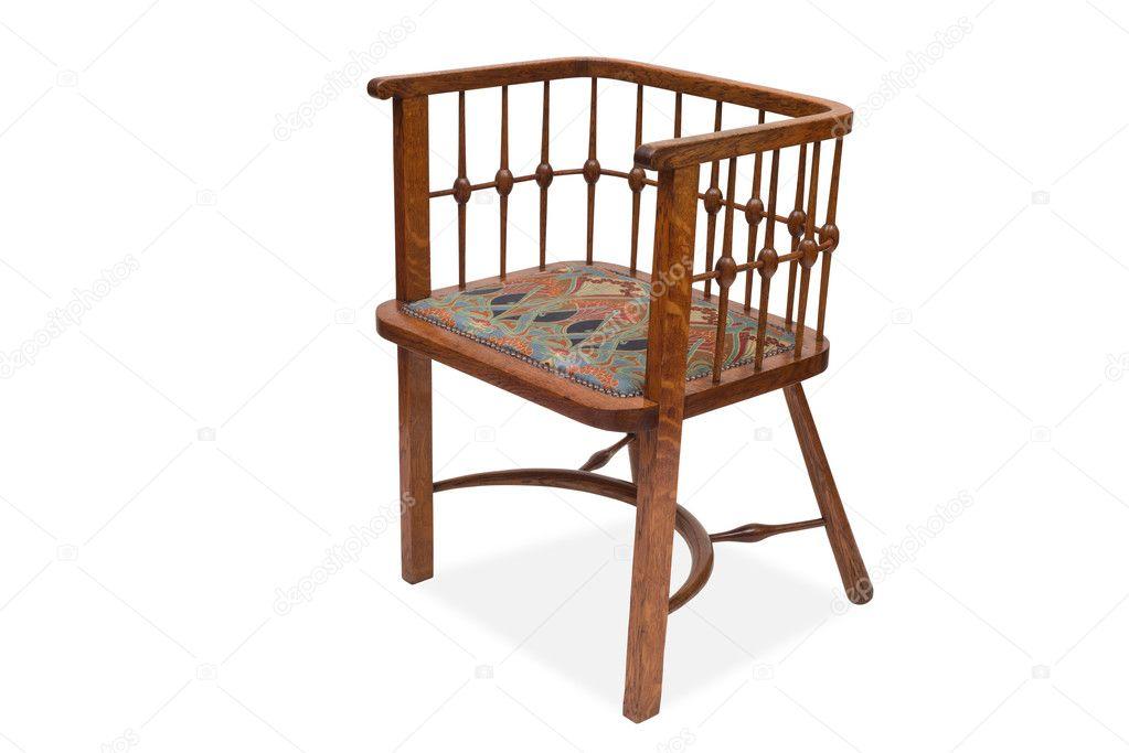 Een vintage houten eetkamer stoel u stockfoto stock