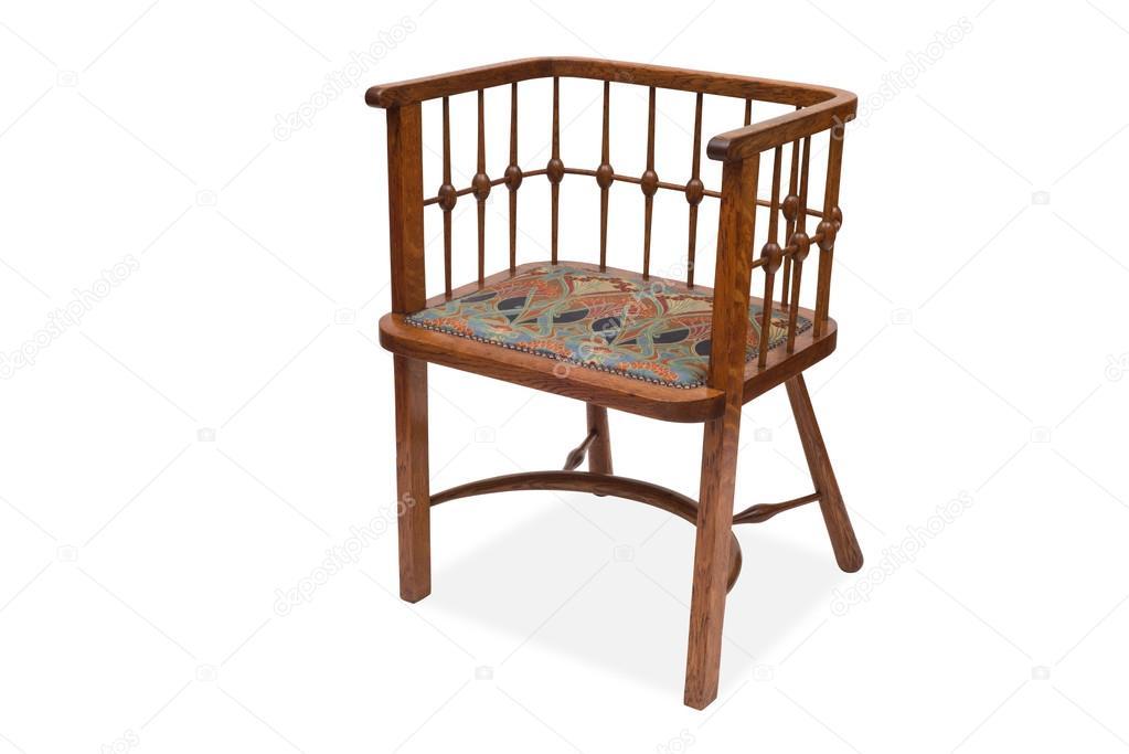 Een antieke houten eetkamer stoel u stockfoto stock