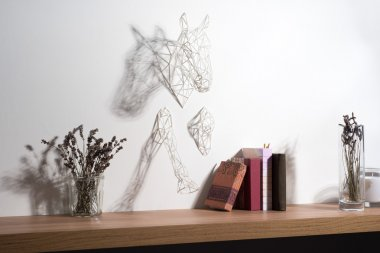 Wall-mounted White Horse Wire Sculpture