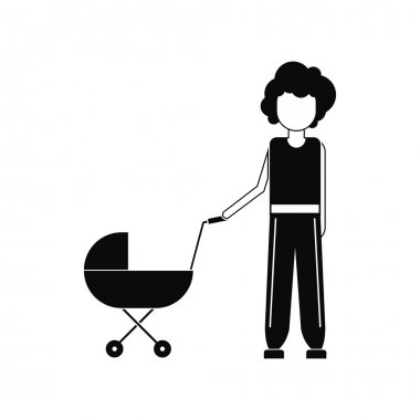 Mother with baby in stroller icon