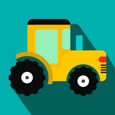Yellow tractor flat icon
