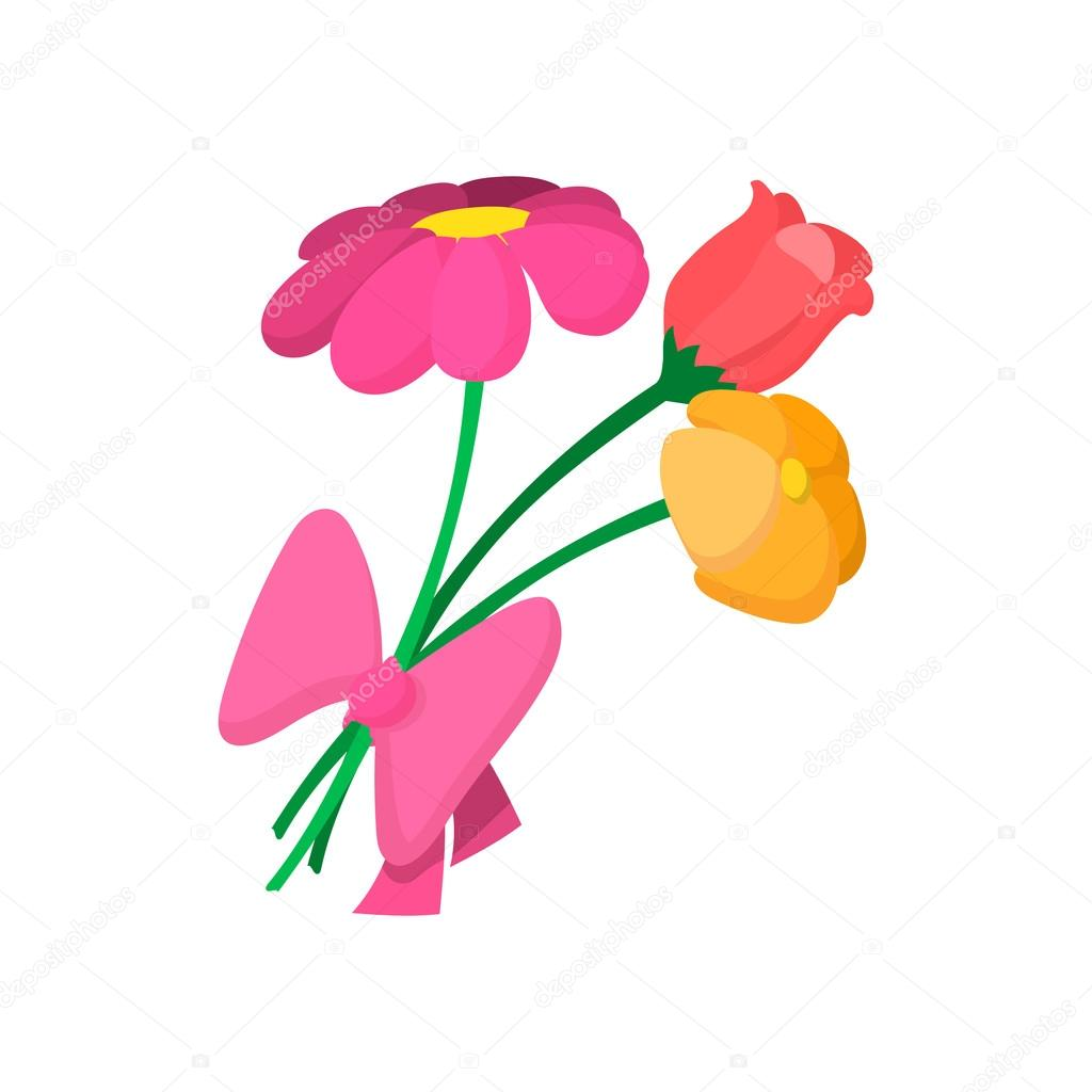 Bouquet of spring flowers cartoon icon — Stock Vector © juliarstudio ...