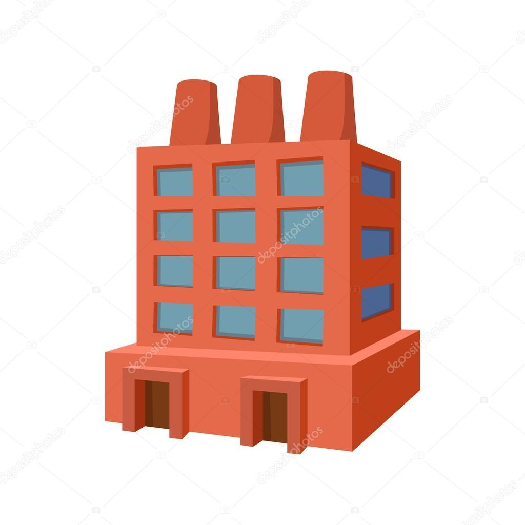Edificio icono de dibujos animados de la fábrica — Vector ...