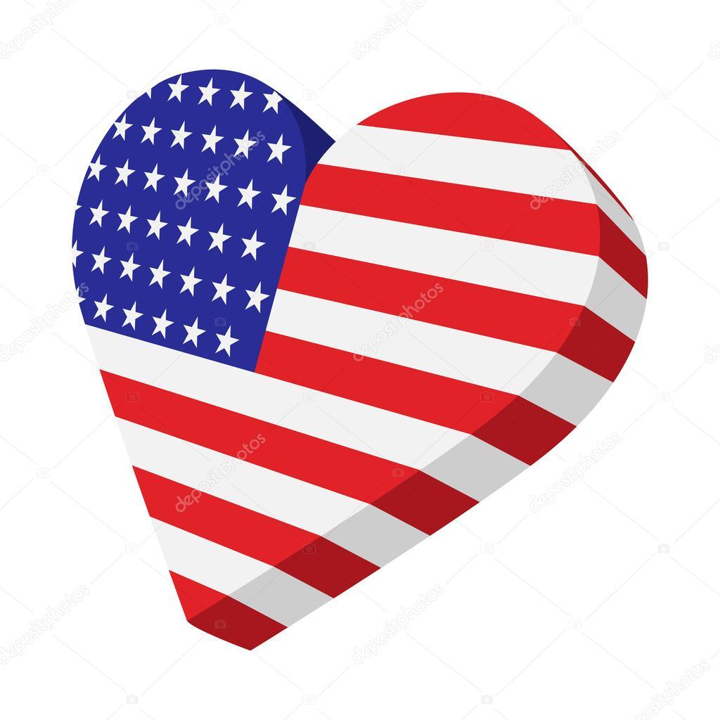 Dibujo De La Bandera De Estados Unidos Corazón De La Bandera De