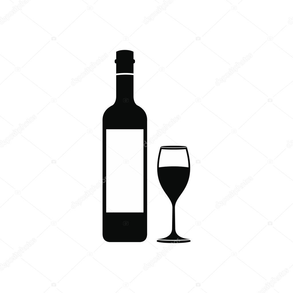 Bouteille Vin Et Verre Ic Ne Image Vectorielle Juliarstudio
