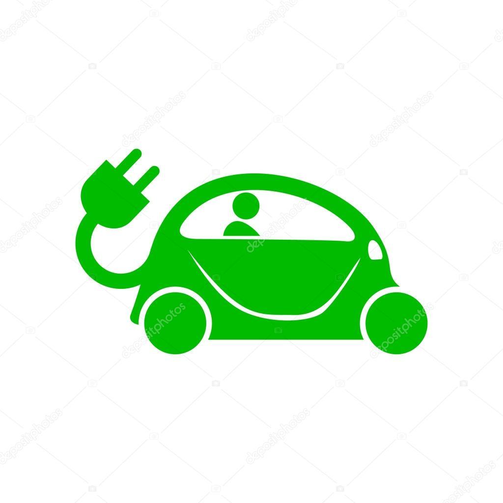 Grüne elektrische Auto-Symbol, einfachen Stil — Stockvektor ...