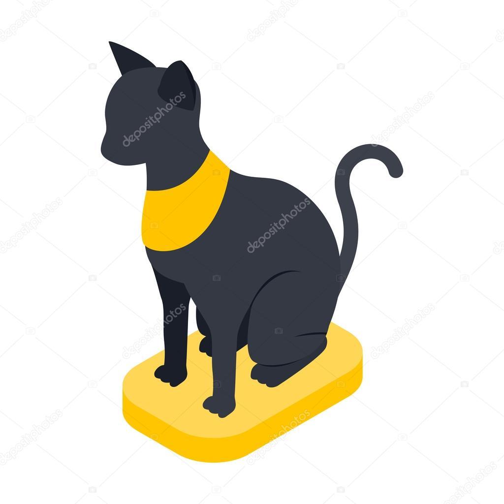 Czarny Kot Egipski Ikona Izometryczny Styl 3d Grafika Wektorowa