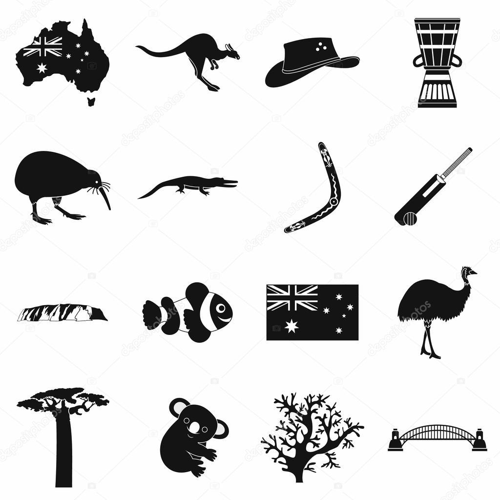 Australia icons simple