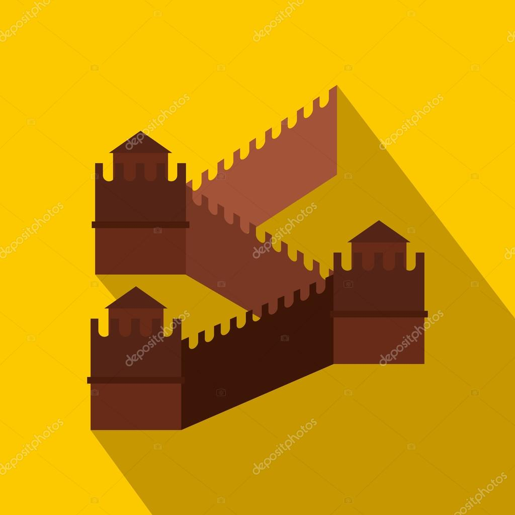 Great Wall of China icon, flat style — Stock Vector © juliarstudio ...
