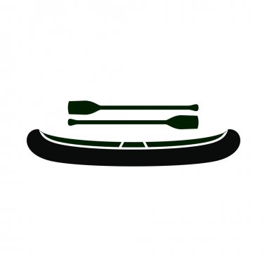 Kayak with oars icon, simple style