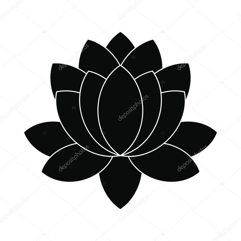 Blue Lotus Flower Icon Simple Style Stock Vector Juliarstudio