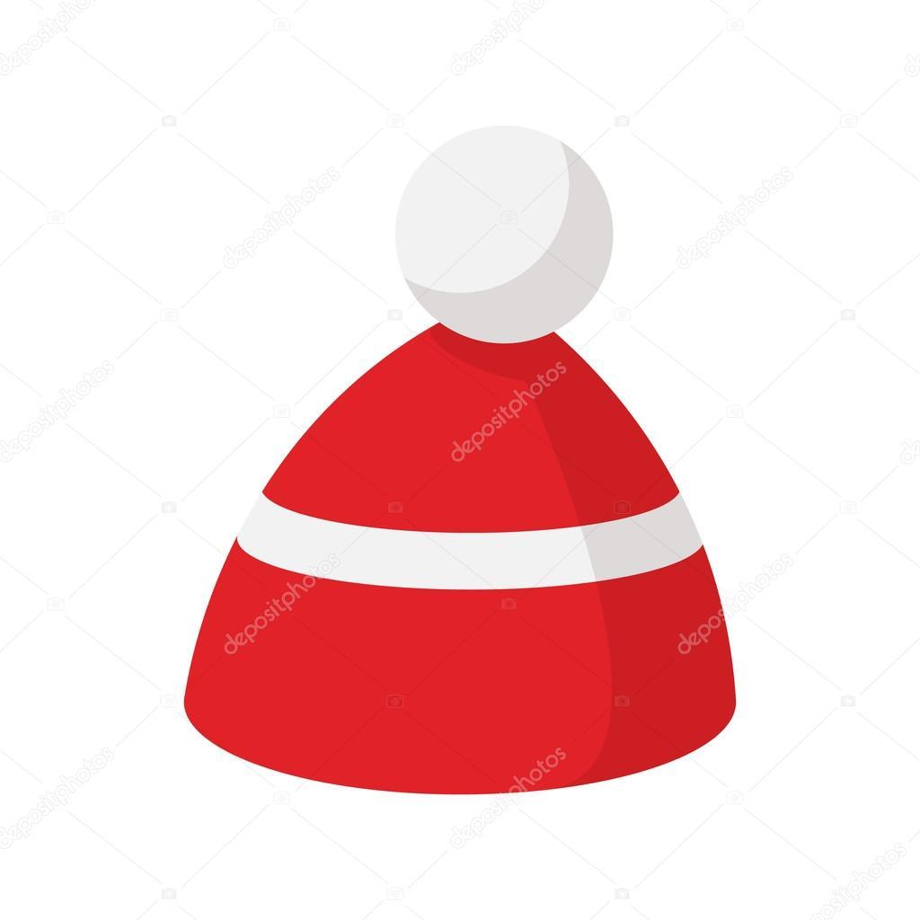 Červená pletená čepice s bílým pruhem ikon — Stock Vektor ... 6f602e3d09