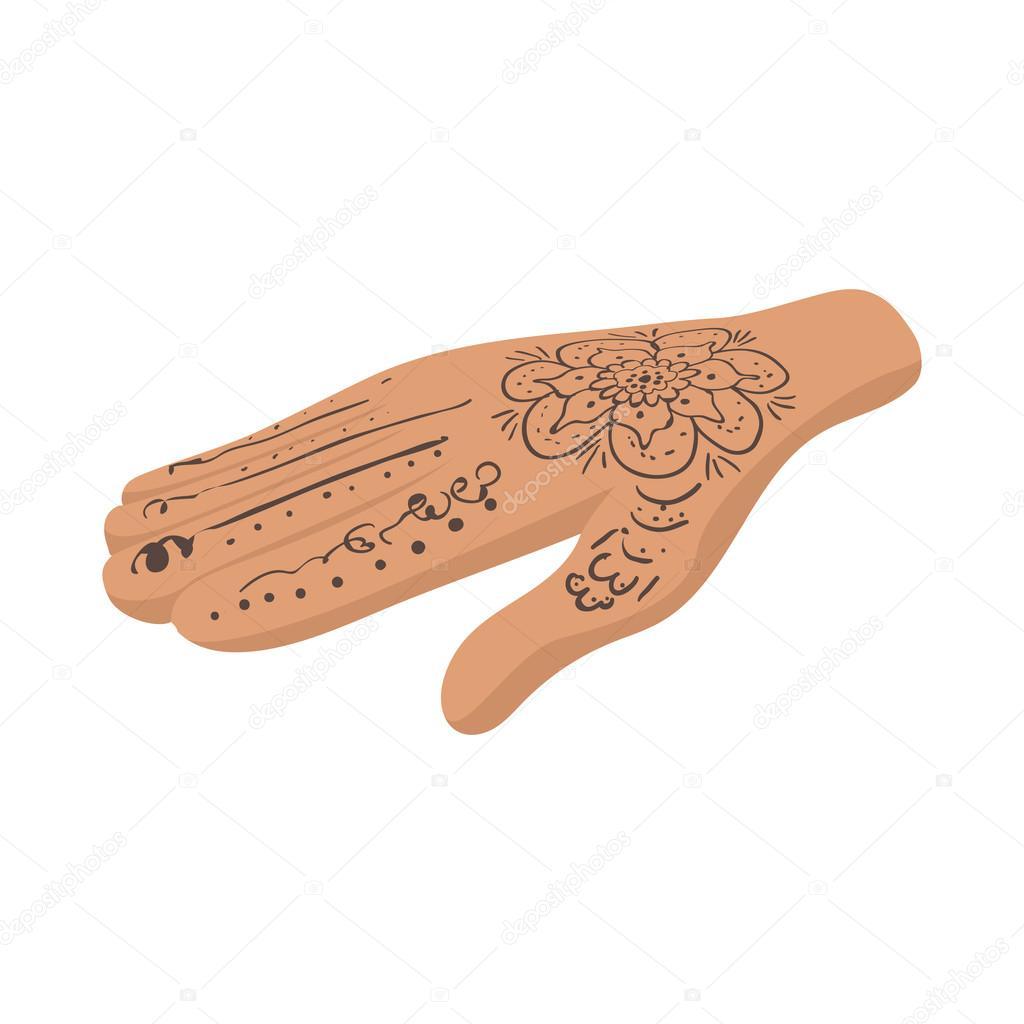 Mano con icono de tatuajes de henna estilo de dibujos animados