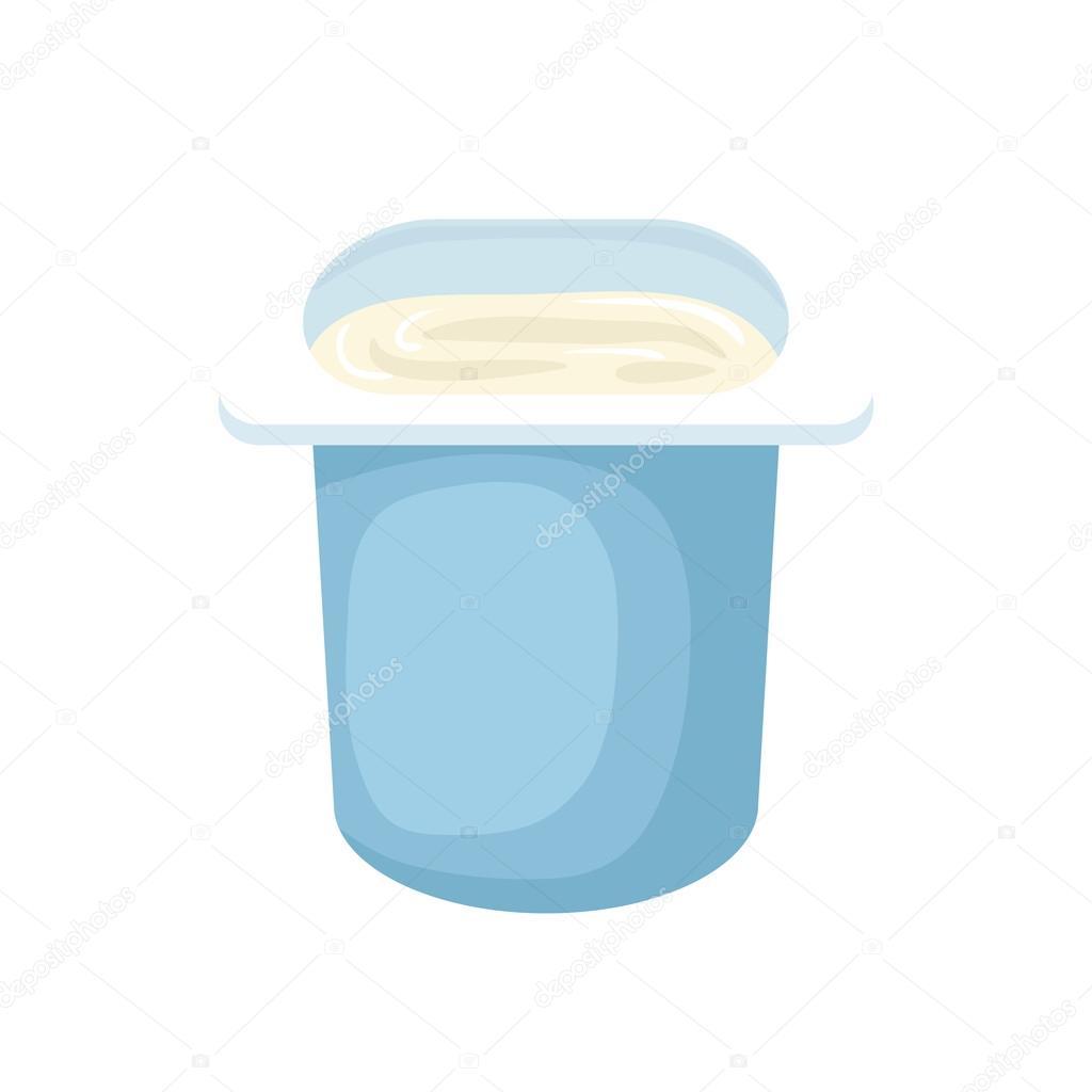 Yogurt en vaso de plástico azul icono de estilo de dibujos animados ...
