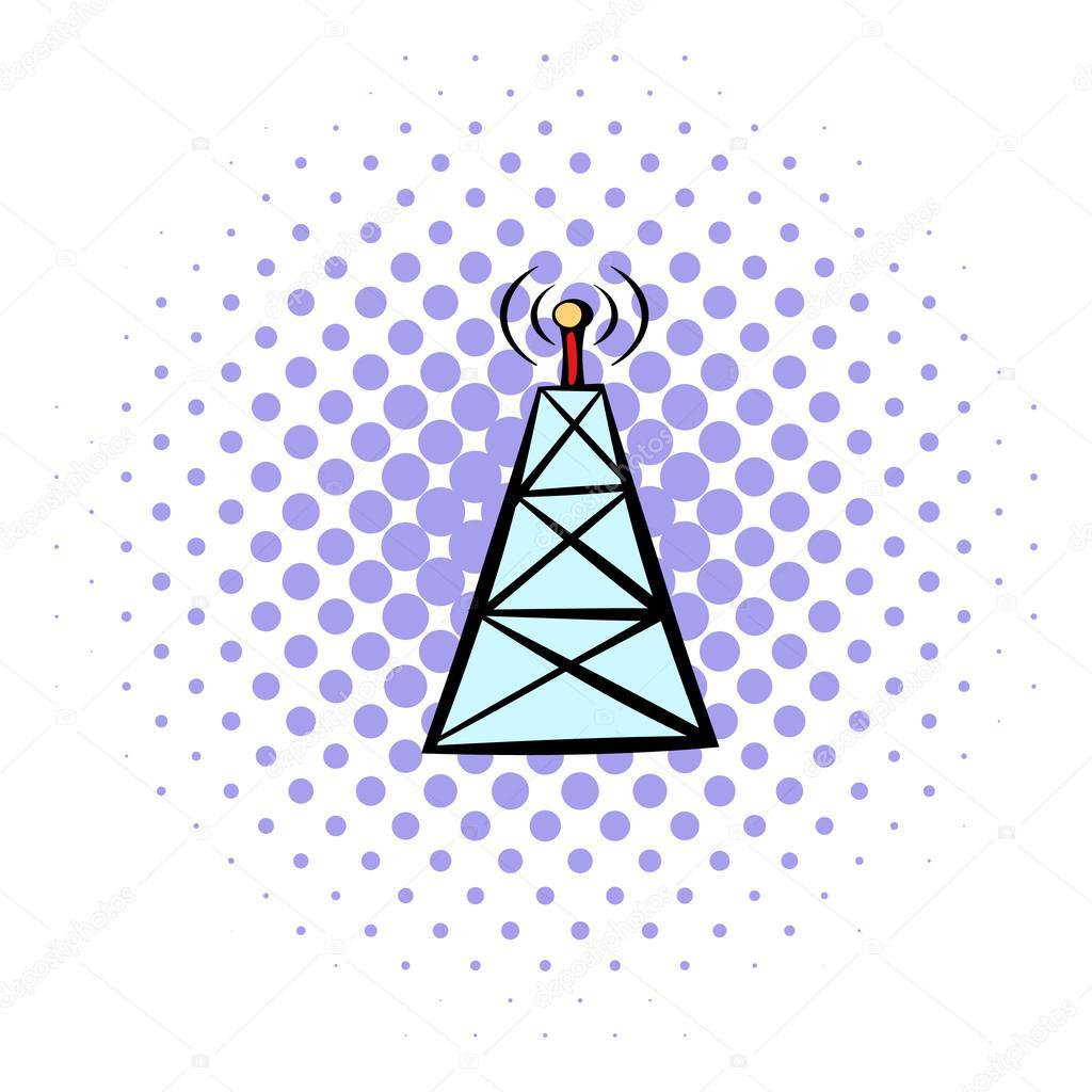 Handy-Turm-Symbol, Comic-Stil — Stockvektor © juliarstudio #103399628