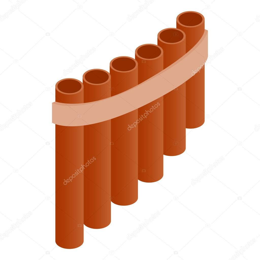 Pan flute icon, isometric 3d style