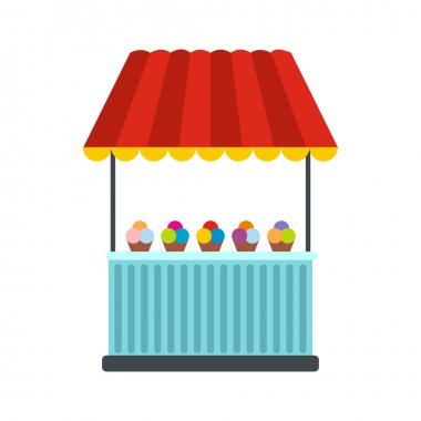 Tent with ice cream icon