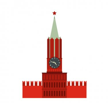 Spasskaya tower of Moscow Kremlin icon, flat style