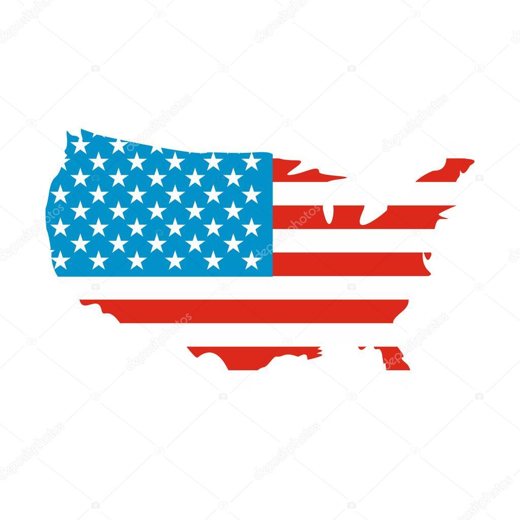 USA Map Flag Icon Stock Vector Juliarstudio - Us map icon