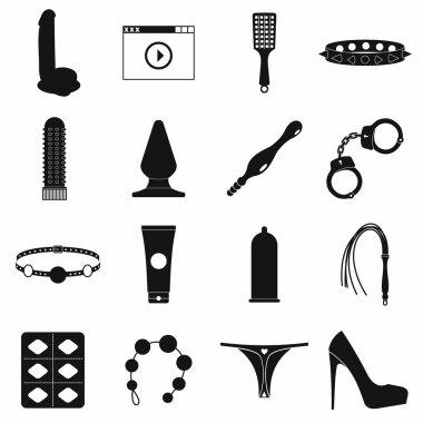 Sex shop icons set, simple style