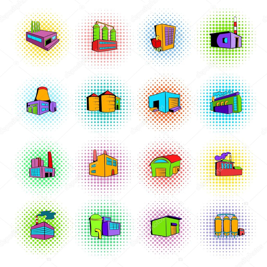 Industrial factory building set icons
