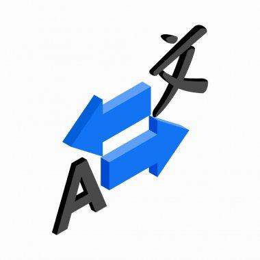 Translation icon, isometric 3d style
