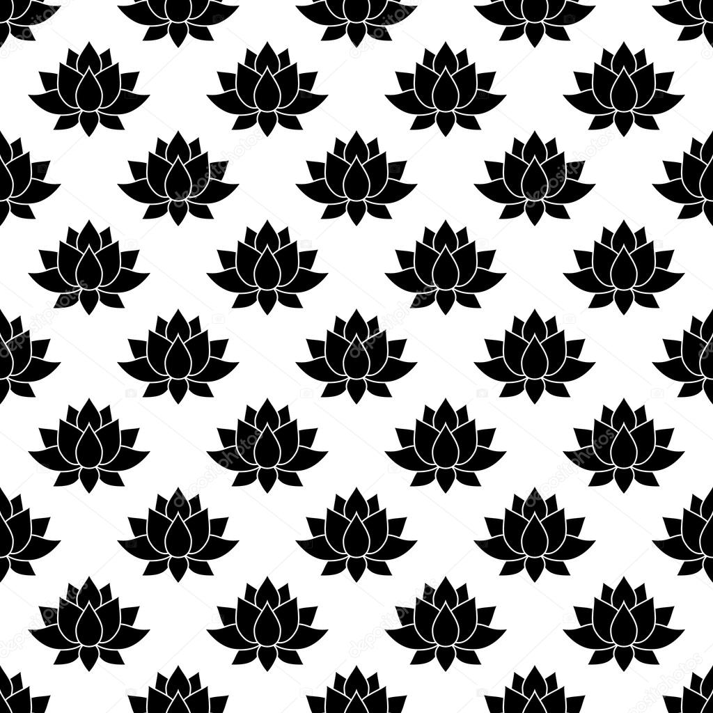 Lotus Flower Pattern Seamless Stock Vector Juliarstudio 107319196