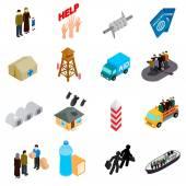 Uprchlíci ikony nastavit, izometrické 3d styl